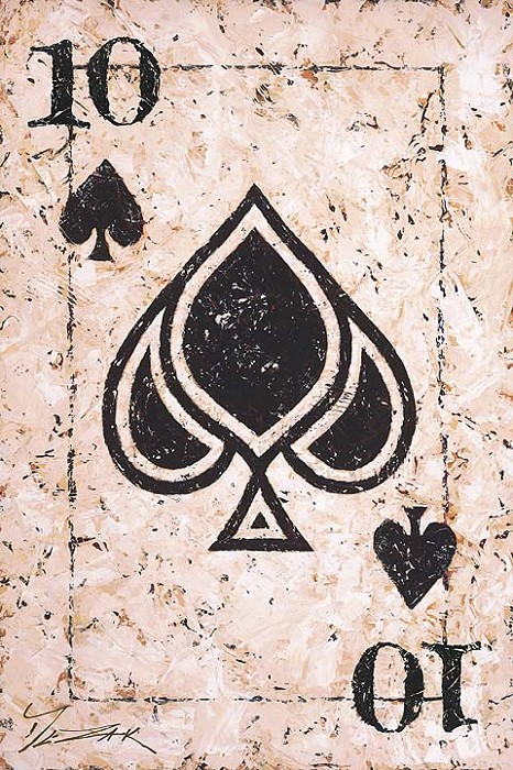 Trevor Mezak Ten of Spades Hand-Embellished Giclee on Canvas