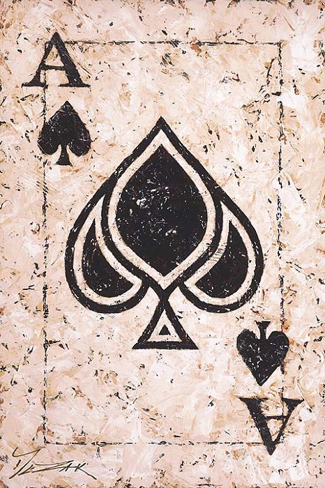 Trevor Mezak The Ace of Spades Hand-Embellished Giclee on Canvas