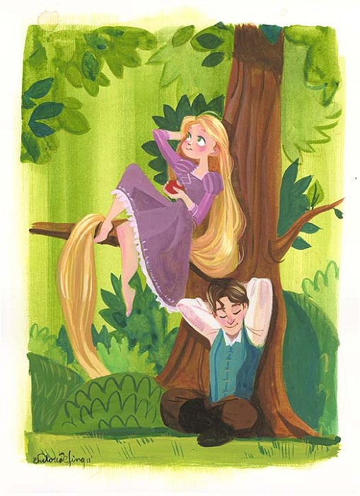 Victoria YingTogether From The Movie RapunzelOriginal Watercolor on Paper