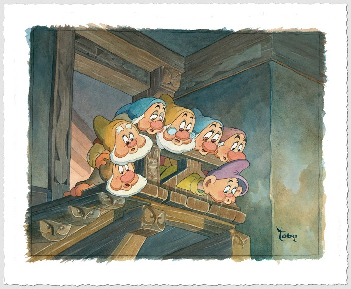 Toby Bluth Top Of The Stairs - From Snow White And The Seven Dwarfs Giclee On Paper