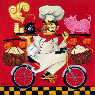 Tim Rogerson Kung Pao Chef Giclee On Canvas