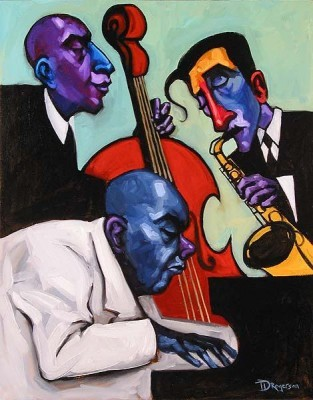 Tim Rogerson Jazz Trio Giclee On Canvas