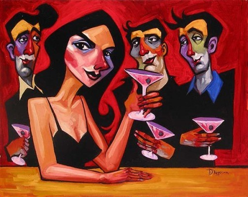 Tim Rogerson Midnight Martinis Giclee On Canvas