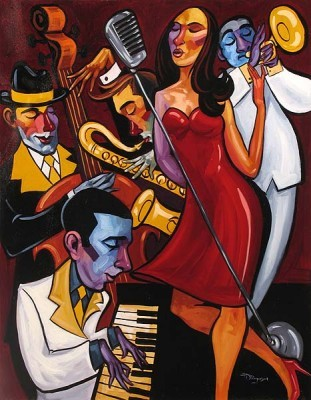 Tim Rogerson Piano Jam Giclee On Canvas