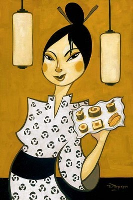 Tim Rogerson Sushi Server Giclee On Canvas