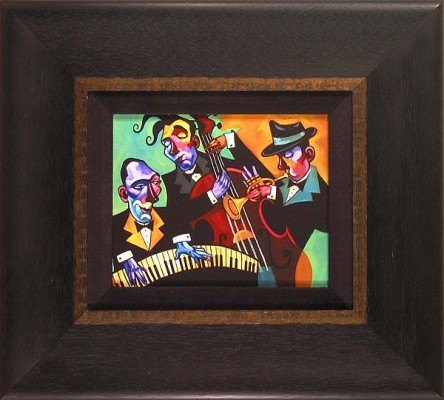 Tim Rogerson Three Black Ties Framed Giclee On Canvas