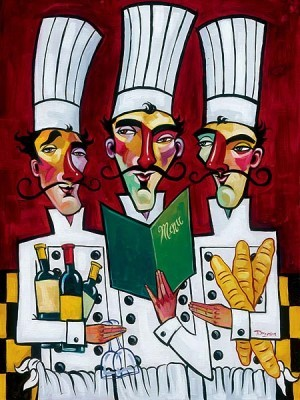 Tim Rogerson Les Trois Chefs Giclee On Canvas