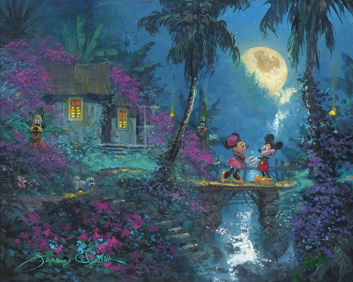 James Coleman Twin Palms Micky And Minnie Original Acylic on Canvas