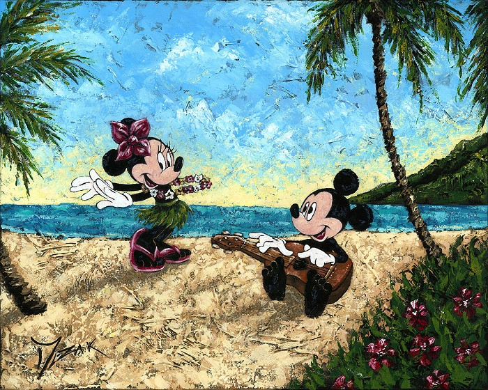 Trevor Mezak Ukelele Hula Mickey and Minnie Original Acrylic on Canvas