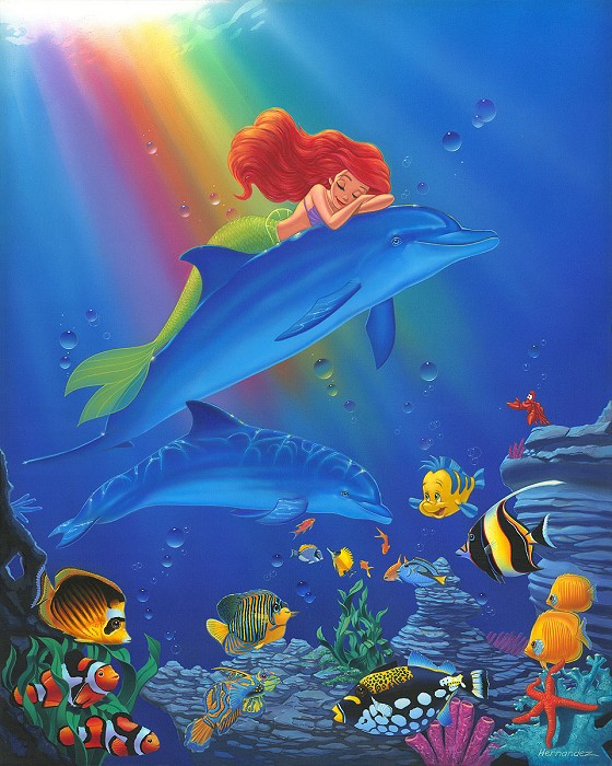 Manuel Hernandez Underwater Dreams - From Disney The Little Mermaid  Hand-Embellished on Canvas