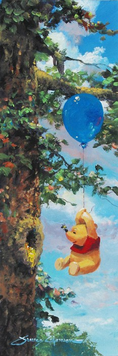 James Coleman Up in the Air - From Disney Winnie the Pooh Hand-Embellished Giclee on Canvas