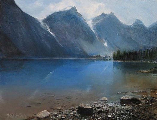 Peter Ellenshaw VIew At Lake Giclee On Canvas