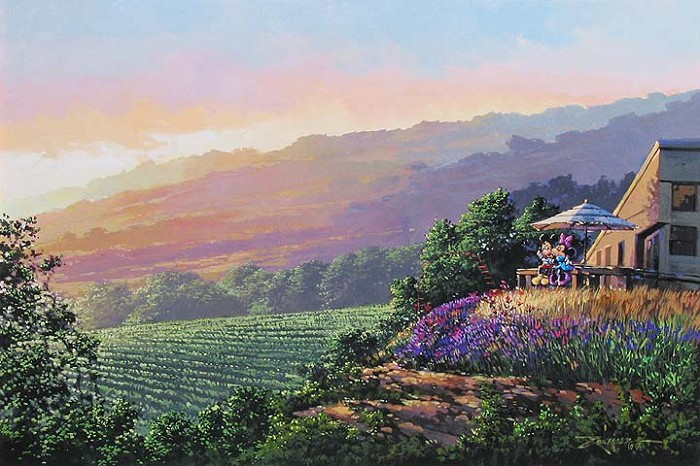 Rodel Gonzalez Together at the Vineyard Hand-Embellished Giclee on Canvas