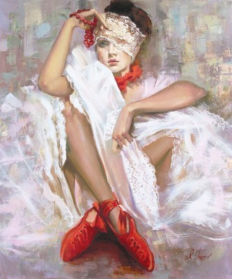 Irene Sheri Vintage Lace Hand-Embellished Giclee on Canvas