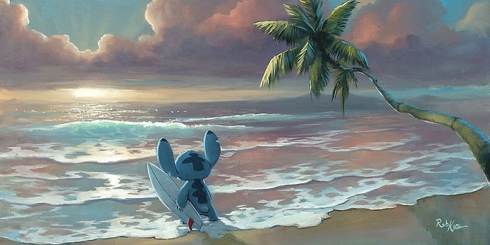 Rob Kaz  Waiting for Waves Mickey Hand-Embellished Giclee on Canvas