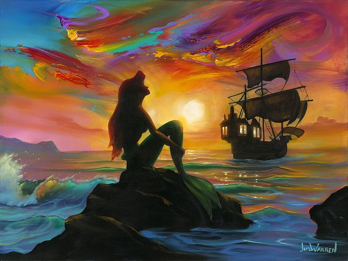 Jim Warren Waiting for the Ship to Come In From The Little Mermaid Hand-Embellished Giclee on Canvas