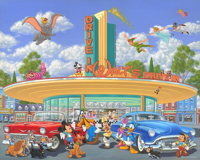 Manuel Hernandez Walt's Drive-In Hand-Embellished on Canvas