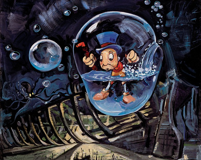 Jim Salvati Waterlogged - From Disney Pinocchio Giclee On Canvas