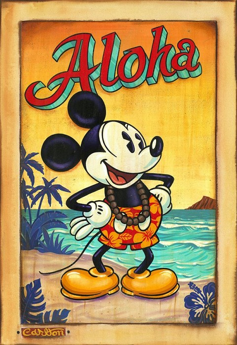 Trevor Carlton Waves of Aloha Hand Hand-Embellished Giclee on Canvas