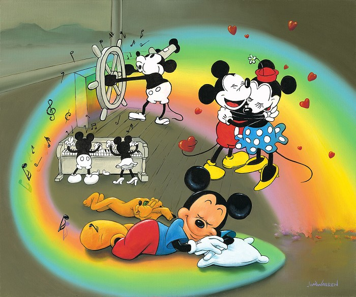 Jim Warren What Does Mickey Dream Hand-Embellished Giclee on Canvas