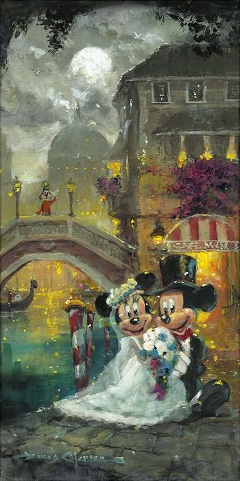 James Coleman Wed in Venice Mickey And Minnie Original Acylic on Canvas