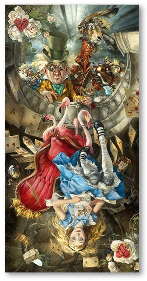 Heather Theurer We're All Mad Here Hand-Embellished Giclee on Canvas
