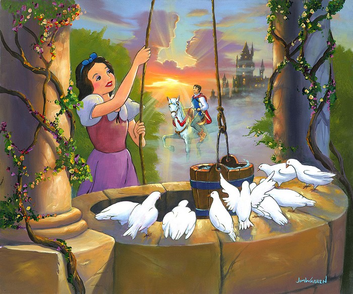 Jim Warren Wishing for My Prince - From Disney Snow White and the Seven Dwarfs  Hand-Embellished Giclee on Canvas