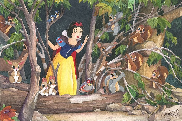 Michelle St Laurent Snow Whites Discovery - From Disney Snow White and the Seven Dwarfs Hand-Embellished Giclee on Canvas