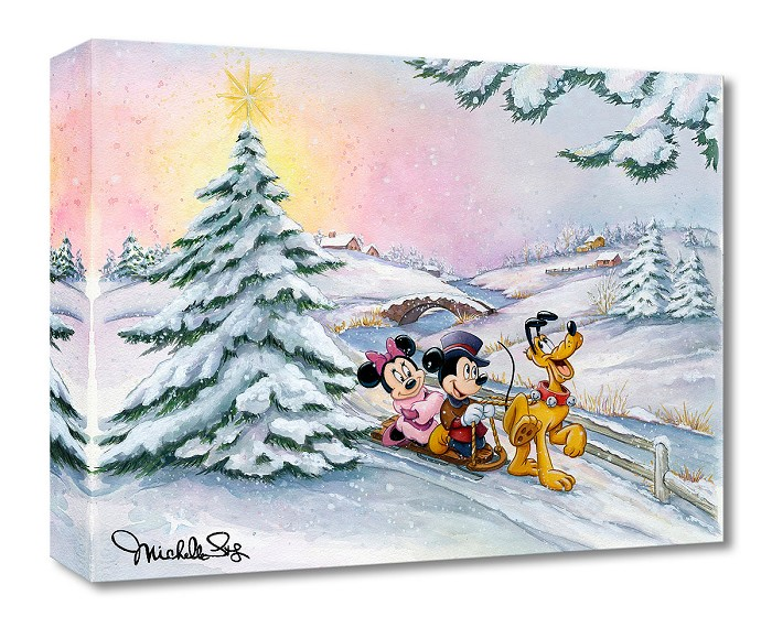 Michelle St Laurent Winter Sleigh Ride From Mickey and Friends Gallery Wrapped Giclee On Canvas