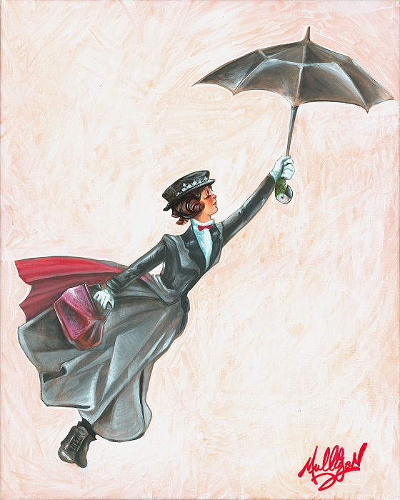 James C Mulligan Winds in the East From The Movie Mary Poppins Original Acylic on Canvas