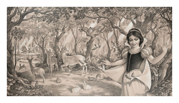 Edson Campos Woodland Princess From Sleeping Beauty Giclee On Paper
