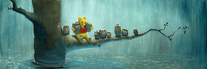 Rob Kaz  Waiting Out the Rain Hand-Embellished Giclee on Canvas