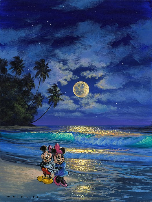 Walfrido Garcia Romance Under the Moonlight Gallery Wrapped Giclee On Canvas