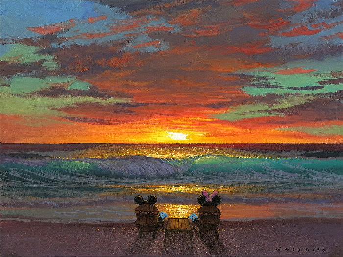 Walfrido Garcia Sharing a Sunset Hand-Embellished Giclee on Canvas