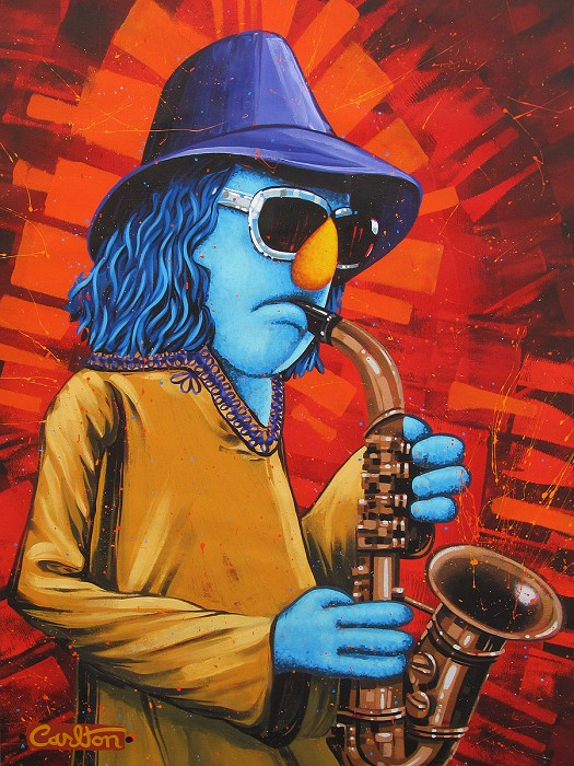 Trevor Carlton Zoot the Sax The Muppets Hand-Embellished Giclee on Canvas