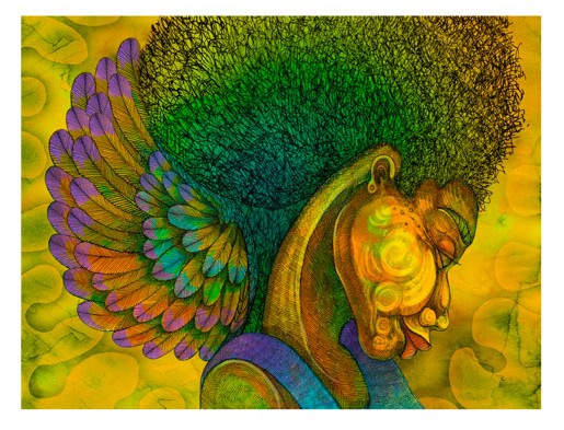Charles Bibbs AFRO ANGEL #2 REMARQUE Giclee On Paper