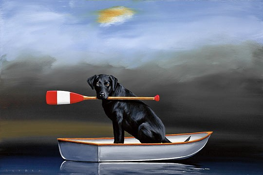 Robert Deyber Doggie Paddle hand-crafted stone lithograph