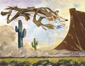 Chuck Jones Desert Duo Willie Coyote Giclee On Canvas