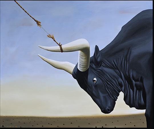 Robert Deyber (I've Got the) Bull by the Horns hand-crafted stone lithograph