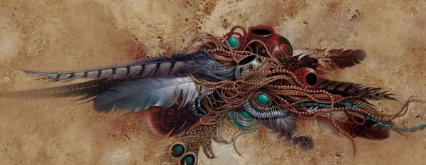 Lee Bogle Feathers Beads & Pots Giclee On Canvas