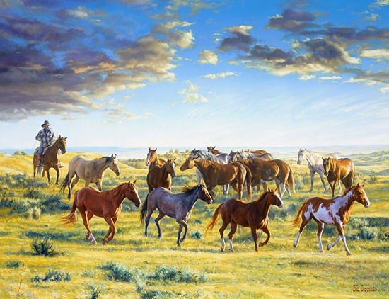 Bob Coronato The Horse Wrangler gatherd the morn Canvas