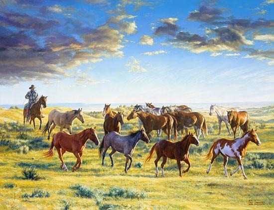 Bob CoronatoThe Horse Wrangler gatherd the mornCanvas