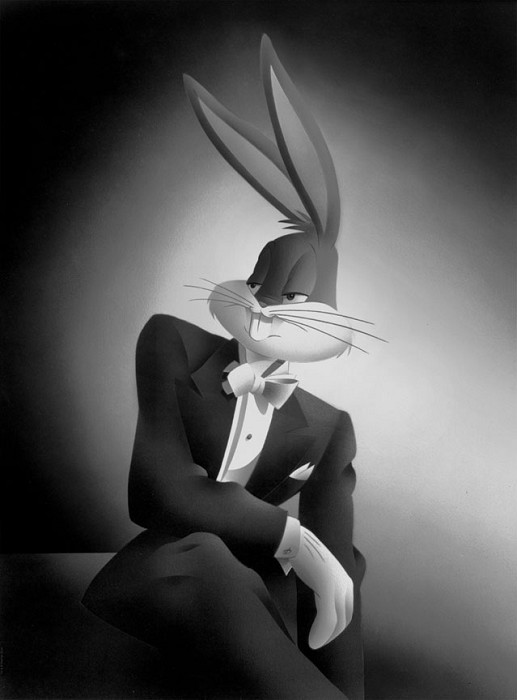 Alan Bodner and Harry Sabin Portrait Series: Bugs Bunny Giclee On Canvas