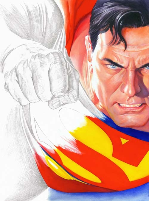 Alex Ross Rough Justice-Superman Giclee On Canvas