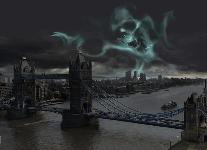 Stuart CraigDark Mark Over LondonGiclee On Canvas