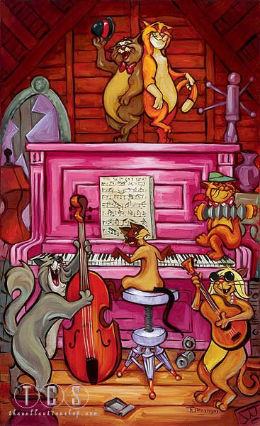 Tim Rogerson Scat Cat Beat - From Disney The Aristocats Giclee On Canvas