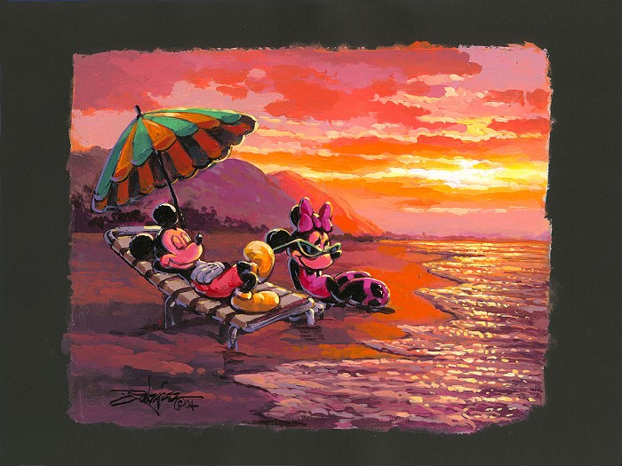 Rodel Gonzalez Sunset at the Beach Mickey and Minnie hand-crafted stone lithograph