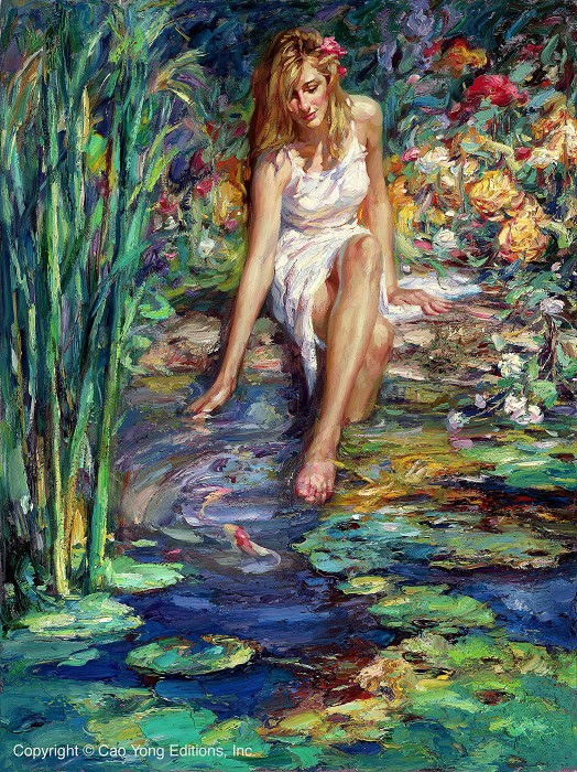 Cao Yong Cool Waters Artist Proof Giclee On Canvas Artist Proof The Romantic Garden Series