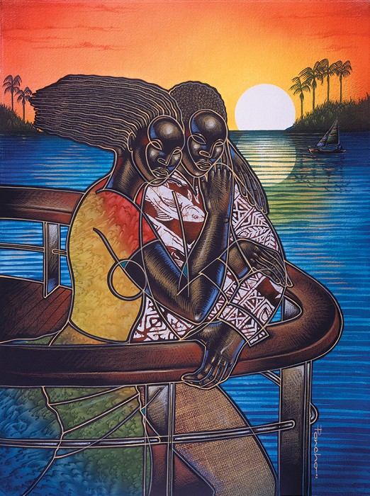 Larry Poncho Brown Cruise The Night Away II Offset Litho Artist Proof 100