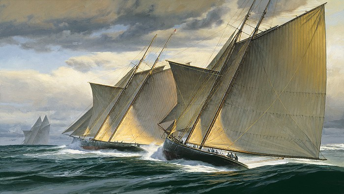 Don Demers End of Day One - The Great Transatlantic Race 1866 MASTERWORK ON Canvas